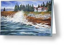 Breakers At Pemaquid Greeting Card