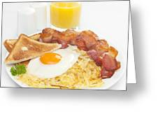 Breakfast Hash Browns Bacon Fried Egg Toast Orange Juice Greeting Card by Colin and Linda McKie