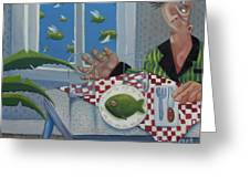 Breakfast In Barbados 1989 Greeting Card by Larry Preston