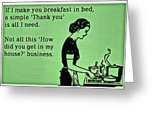 Breakfast In Bed Greeting Card