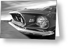 Breaking The Sound Barrier - Mach 1 428 Cobra Jet Mustang In Black And White Greeting Card