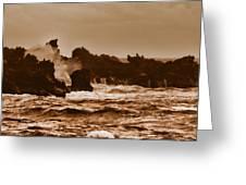 Breaking Waves-big Island Hawaii Greeting Card
