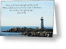 Breakwater Lighthouse Santa Cruz With Verse  Greeting Card