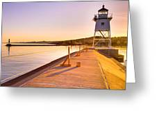 Breakwater Lights Redux Greeting Card by Adam Mateo Fierro