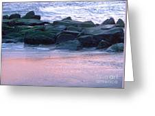 Breakwater Rocks At Sunset Beach Cape May Greeting Card