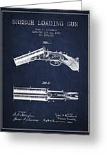 Breech Loading Gun Patent Drawing From 1883 - Navy Blue Greeting Card