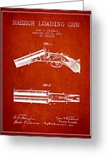 Breech Loading Gun Patent Drawing From 1883 - Red Greeting Card