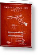 Breech Loading Shotgun Patent Drawing From 1879 - Red Greeting Card