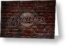 Brewers Baseball Graffiti On Brick  Greeting Card