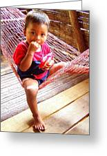 Bribri Indian Child In A Hammock Greeting Card