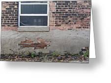 Brick Broken Plaster And Window Greeting Card