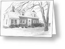 Brick Cottage Pencil Portrait Greeting Card
