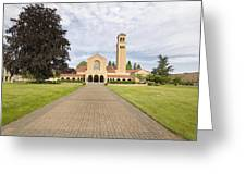 Brick Path To Mt Angel Abbey Church Entrance Greeting Card