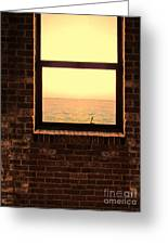 Brick Window Sea View Greeting Card