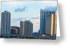 Brickell Key And Miami Skyline Greeting Card