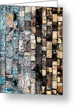 Bricks Of Turquoise And Gold Greeting Card