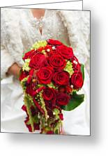 Bridal Bouquet With Red Roses Greeting Card