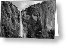 Bridalveil Falls In B And W Greeting Card by Bill Gallagher