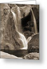 Bridalveil Falls In Yosemite Sepia Version Greeting Card
