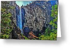 Bridalveil Falls In Yosemite Valley Greeting Card