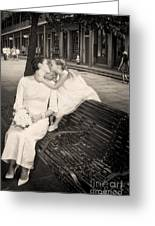 Bride And Daughter Kiss In Jackson Square New Orleans Greeting Card