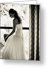 Bride At The Balcony II. Black And White Greeting Card by Jenny Rainbow