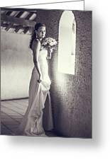 Bride At The Window. Black And White Greeting Card