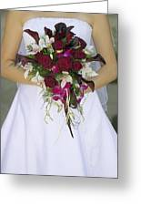 Brides Bouquet And Wedding Dress Greeting Card