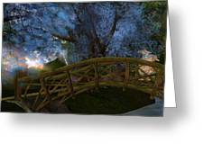 Bridge And Blue Tree Greeting Card