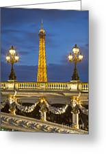 Bridge And Eiffel Greeting Card