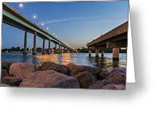 Bridge And Fishing Pier Greeting Card