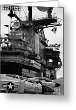 Bridge And Flight Deck Island On The Uss Intrepid New York Greeting Card
