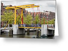 Bridge And Houses On Entrepotdok In Amsterdam Greeting Card