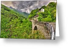 Bridge And Mountain Greeting Card