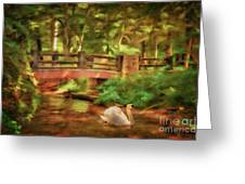 Bridge And Swan Greeting Card