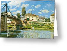 Bridge At Villeneuve-la-garenne Greeting Card by Alfred Sisley