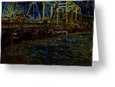 Bridge Crossing C. 1885 Glowing Edges Greeting Card