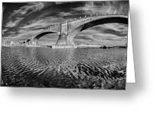 Bridge Curvature In Black And White Greeting Card