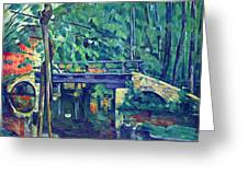 Bridge In The Forest By Cezanne Greeting Card