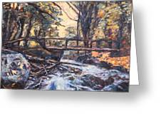 Morning Bridge In Woods Greeting Card