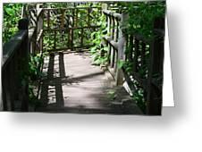 Bridge In Woods Greeting Card