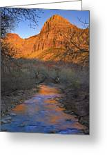 Bridge Mt And The Virgin River Zion Np Greeting Card