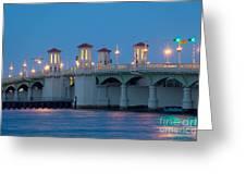 Bridge Of Lions At Dusk St Augustine Florida Greeting Card