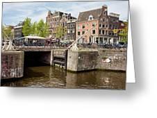 Bridge On Singel Canal In Amsterdam Greeting Card