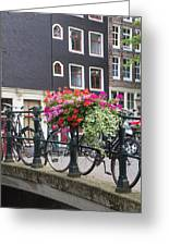 Bridge Over Canal In Amsterdam Greeting Card