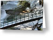 Bridge Over Frozen River Greeting Card
