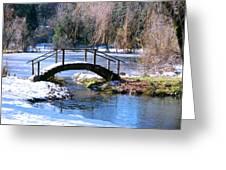 Bridge Over Ice N Snow Greeting Card
