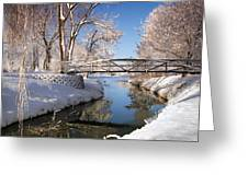Bridge Over Icy Water Greeting Card
