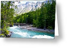 Bridge Over Mcdonald Creek In Glacier Np-mt Greeting Card