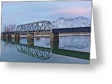 Bridge Over Tranquil Waters In Kamloops British Columbia Greeting Card
